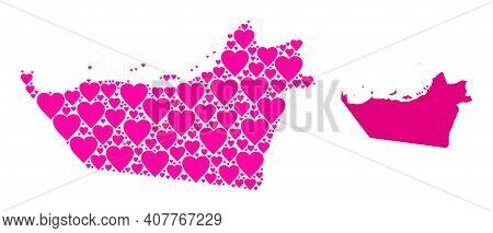 Love Mosaic And Solid Map Of Abu Dhabi Emirate. Mosaic Map Of Abu Dhabi Emirate Created With Pink Lo