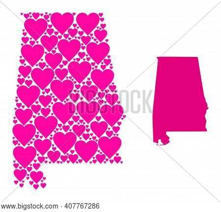 Love Collage And Solid Map Of Alabama State. Collage Map Of Alabama State Is Composed With Pink Hear