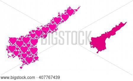 Love Mosaic And Solid Map Of Andhra Pradesh State. Collage Map Of Andhra Pradesh State Is Composed W
