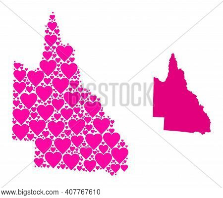 Love Mosaic And Solid Map Of Australian Queensland. Mosaic Map Of Australian Queensland Created With