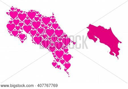 Love Collage And Solid Map Of Costa Rica. Mosaic Map Of Costa Rica Designed From Pink Valentine Hear