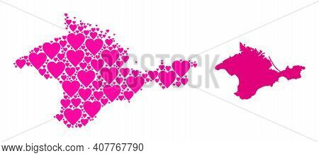 Love Collage And Solid Map Of Crimea. Collage Map Of Crimea Composed With Pink Love Hearts. Vector F