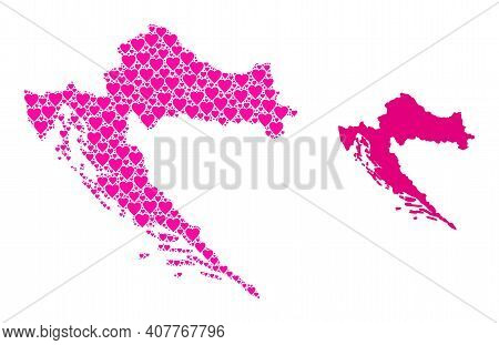 Love Mosaic And Solid Map Of Croatia. Mosaic Map Of Croatia Is Formed With Pink Lovely Hearts. Vecto