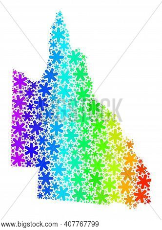 Spectrum Gradient Mosaic Of Australian Queensland Map Created For New Year Ads. Australian Queenslan