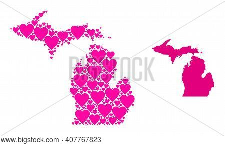 Love Mosaic And Solid Map Of Michigan State. Mosaic Map Of Michigan State Is Formed With Pink Valent