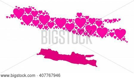 Love Mosaic And Solid Map Of Java Island. Mosaic Map Of Java Island Formed With Pink Love Hearts. Ve