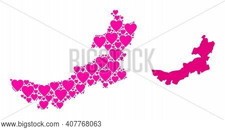 Love Mosaic And Solid Map Of Inner Mongolia. Mosaic Map Of Inner Mongolia Is Formed With Pink Love H
