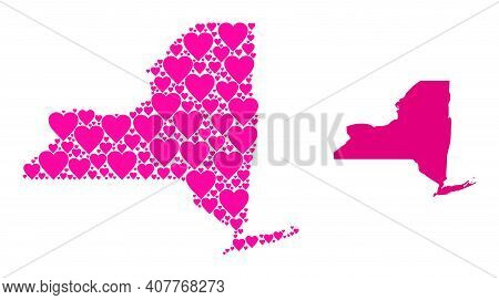 Love Pattern And Solid Map Of New York State. Mosaic Map Of New York State Composed From Pink Valent