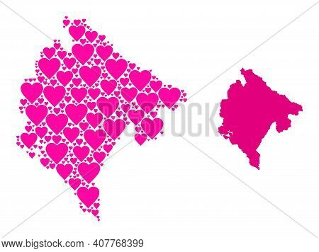 Love Collage And Solid Map Of Montenegro. Collage Map Of Montenegro Is Composed With Pink Lovely Hea