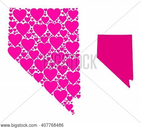 Love Collage And Solid Map Of Nevada State. Collage Map Of Nevada State Formed With Pink Lovely Hear