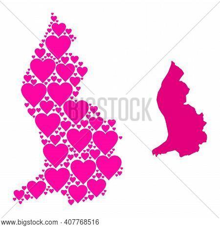 Love Mosaic And Solid Map Of Liechtenstein. Mosaic Map Of Liechtenstein Is Composed From Pink Hearts
