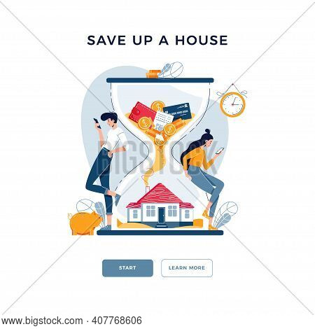 Save Up A House Concept. Couple Purchased A Property And Awaiting For Savings Growing. Make Money In