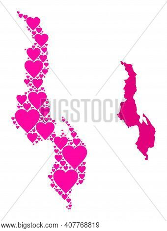 Love Mosaic And Solid Map Of Malawi. Mosaic Map Of Malawi Is Formed With Pink Valentine Hearts. Vect