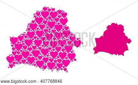 Love Collage And Solid Map Of Belarus. Collage Map Of Belarus Designed With Pink Lovely Hearts. Vect