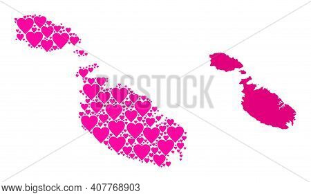 Love Mosaic And Solid Map Of Malta. Mosaic Map Of Malta Designed From Pink Valentine Hearts. Vector