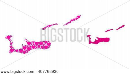 Love Collage And Solid Map Of Cayman Islands. Collage Map Of Cayman Islands Created From Pink Lovely