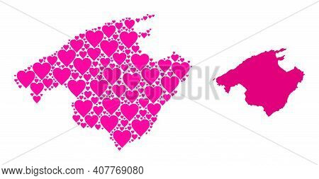 Love Mosaic And Solid Map Of Majorca. Mosaic Map Of Majorca Is Formed With Pink Love Hearts. Vector
