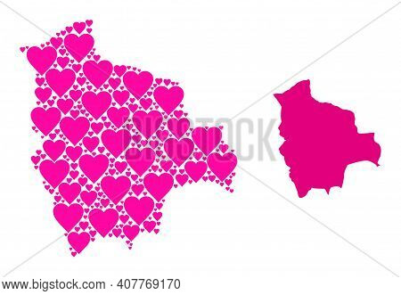 Love Pattern And Solid Map Of Bolivia. Mosaic Map Of Bolivia Composed With Pink Love Hearts. Vector