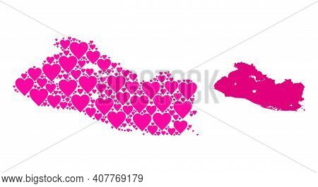 Love Collage And Solid Map Of El Salvador. Collage Map Of El Salvador Designed With Pink Valentine H