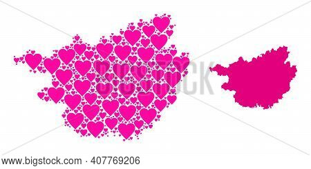 Love Mosaic And Solid Map Of Guangxi Zhuang Region. Collage Map Of Guangxi Zhuang Region Composed Wi