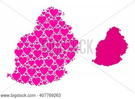 Love Mosaic And Solid Map Of Mauritius Island. Mosaic Map Of Mauritius Island Designed From Pink Val