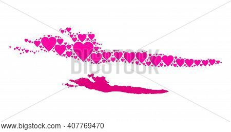 Love Pattern And Solid Map Of Hvar Island. Mosaic Map Of Hvar Island Composed With Pink Lovely Heart