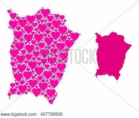 Love Mosaic And Solid Map Of Penang Island. Mosaic Map Of Penang Island Is Designed With Pink Lovely