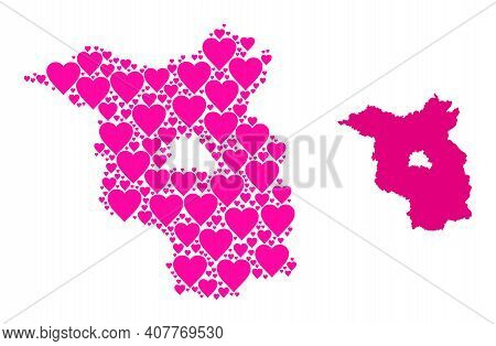 Love Mosaic And Solid Map Of Brandenburg State. Mosaic Map Of Brandenburg State Designed With Pink L
