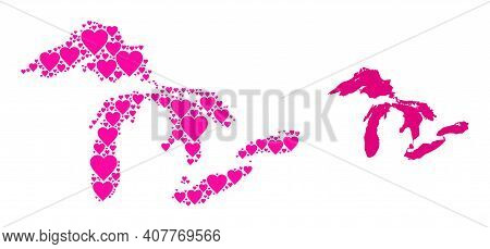 Love Pattern And Solid Map Of Great Lakes. Collage Map Of Great Lakes Created With Pink Hearts. Vect