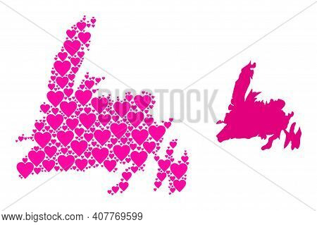 Love Collage And Solid Map Of Newfoundland Island. Collage Map Of Newfoundland Island Formed With Pi