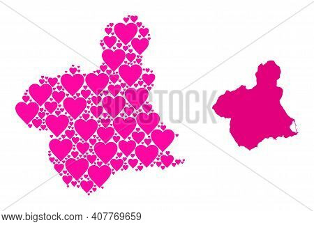 Love Mosaic And Solid Map Of Murcia Province. Mosaic Map Of Murcia Province Created With Pink Love H