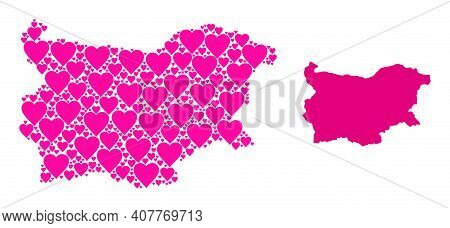 Love Mosaic And Solid Map Of Bulgaria. Mosaic Map Of Bulgaria Formed From Pink Valentine Hearts. Vec