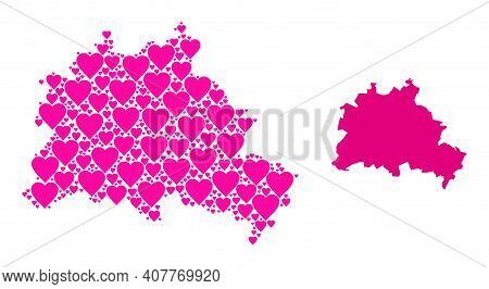 Love Collage And Solid Map Of Berlin City. Collage Map Of Berlin City Is Designed With Pink Valentin