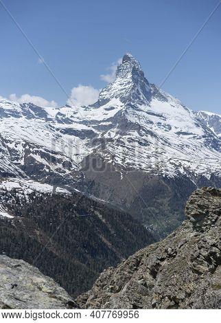 A Spring Morning View Of The Matterhorn Mountain From Near Zermatt