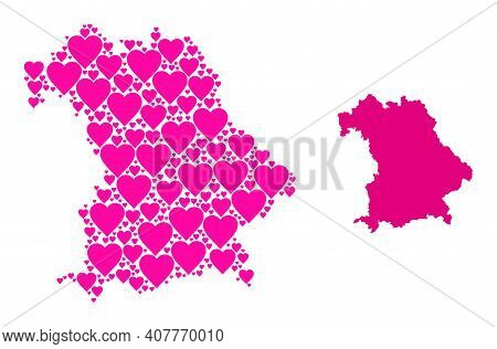 Love Collage And Solid Map Of Bavaria State. Mosaic Map Of Bavaria State Formed With Pink Hearts. Ve