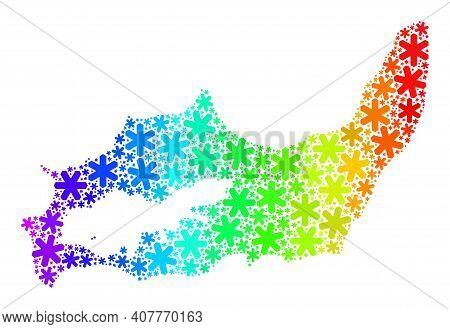 Rainbow Gradient Mosaic Of Great Inagua Island Map Organized For New Year Holidays. Great Inagua Isl