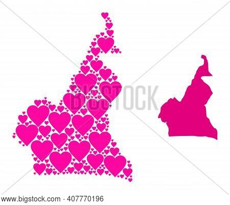 Love Collage And Solid Map Of Cameroon. Collage Map Of Cameroon Composed From Pink Valentine Hearts.