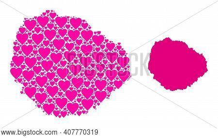 Love Collage And Solid Map Of La Gomera Island. Collage Map Of La Gomera Island Formed With Pink Lov
