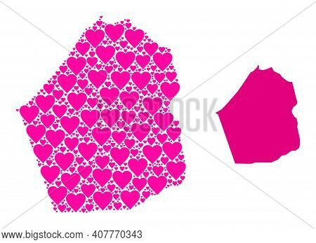 Love Mosaic And Solid Map Of Dubai Emirate. Mosaic Map Of Dubai Emirate Created With Pink Love Heart