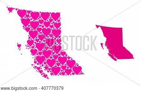 Love Mosaic And Solid Map Of British Columbia Province. Collage Map Of British Columbia Province Des