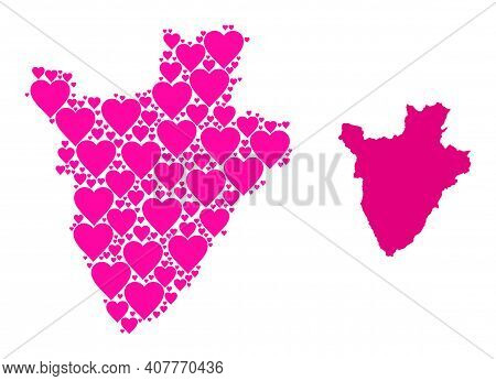 Love Mosaic And Solid Map Of Burundi. Mosaic Map Of Burundi Composed With Pink Love Hearts. Vector F
