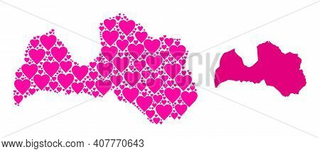Love Mosaic And Solid Map Of Latvia. Mosaic Map Of Latvia Is Composed With Pink Lovely Hearts. Vecto