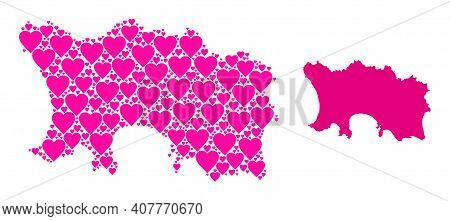 Love Mosaic And Solid Map Of Jersey Island. Mosaic Map Of Jersey Island Formed With Pink Lovely Hear