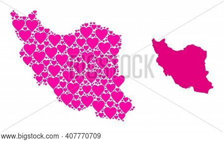 Love Mosaic And Solid Map Of Iran. Mosaic Map Of Iran Composed From Pink Love Hearts. Vector Flat Il
