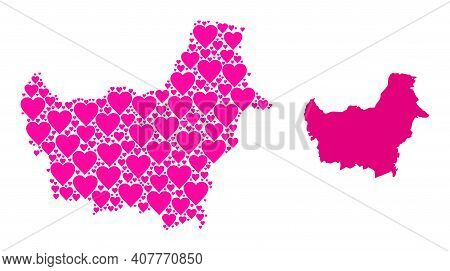 Love Mosaic And Solid Map Of Borneo Island. Mosaic Map Of Borneo Island Created From Pink Valentine