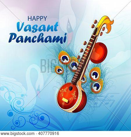 Vector Illustration Of Goddess Saraswati For Vasant Panchami Puja Of India