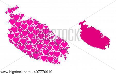 Love Pattern And Solid Map Of Malta Island. Collage Map Of Malta Island Created From Pink Lovely Hea