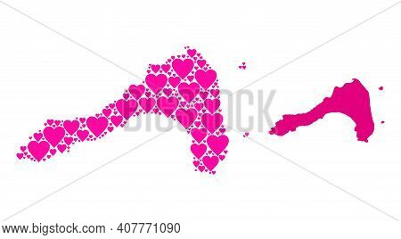 Love Mosaic And Solid Map Of Koh Lipe. Collage Map Of Koh Lipe Formed With Pink Lovely Hearts. Vecto