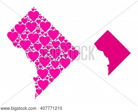 Love Collage And Solid Map Of District Columbia. Collage Map Of District Columbia Formed With Pink L