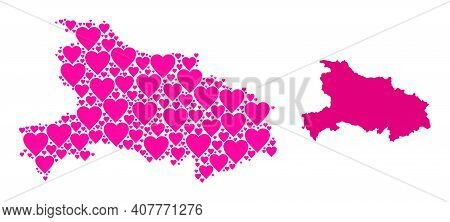 Love Collage And Solid Map Of Hubei Province. Collage Map Of Hubei Province Composed With Pink Lovel